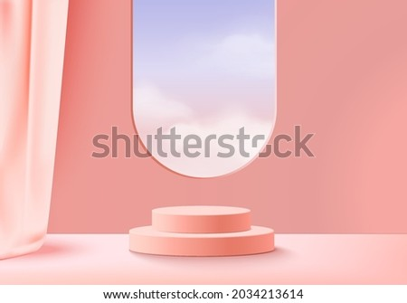 3d background products display podium scene with cloud sky geometric platform. background vector 3d rendering with podium. stand to show cosmetic product. Stage showcase on pedestal display pink cloud