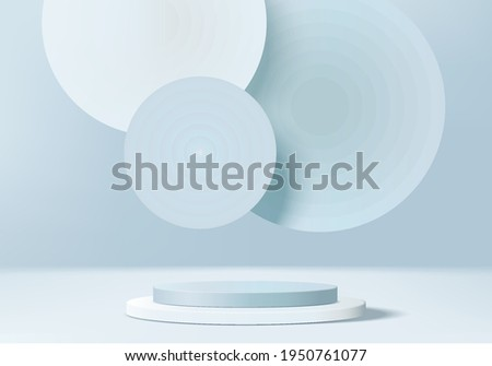 3d background products display podium scene with geometric platform. backdrop background vector 3d render with podium. stand to show cosmetic products. Stage showcase on pedestal display blue backdrop