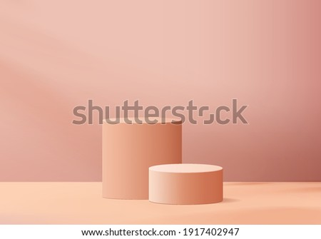 3d background products display podium scene with geometric platform. background vector 3d rendering with podium. stand to show cosmetic products. Stage showcase on pedestal display studio pink pastel