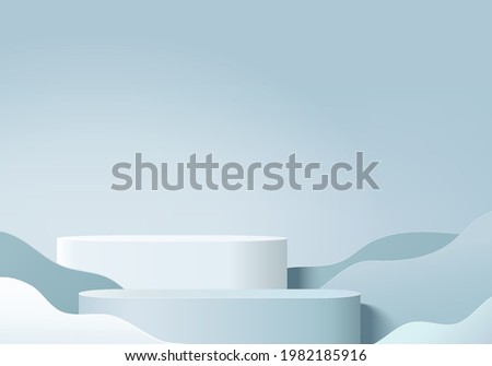 3d background products display podium scene with geometric platform. background vector 3d rendering with podium. stand to show cosmetic products. Stage showcase on pedestal display blue summer