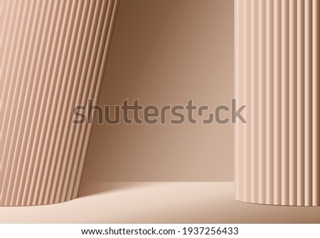 3d background products display podium scene with geometric platform. brown background vector 3d rendering podium. stand to show cosmetic products. Stage showcase on pedestal display 3d beige studio