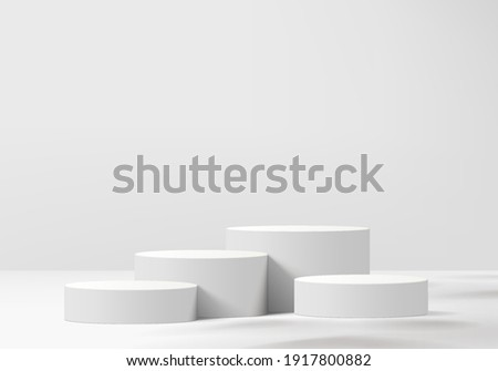 3d background products display podium scene with geometric platform. white background vector 3d rendering with podium. stand to show cosmetic products. Stage showcase on pedestal display grey studio