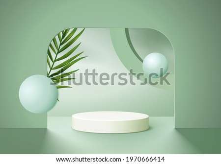 3d background products display podium scene with green leaf geometric platform. background vector 3d render with podium. stand to show cosmetic product. Stage showcase on pedestal display green studio