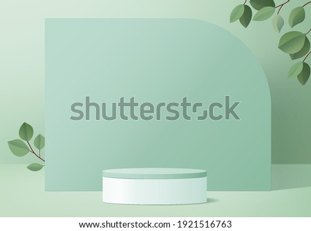 3d background products display podium scene with leaf geometric platform. background vector 3d rendering with podium. stand to show cosmetic products. Stage showcase on pedestal display green studio