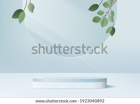 3d background products display podium scene with leaf geometric platform. background vector 3d rendering with podium. stand to show cosmetic products. Stage products showcase on pedestal display blue