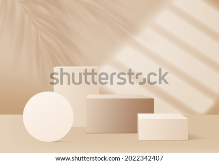 3d background products display podium scene with palm leaf geometric forms. background vector 3d render with podium. stand show cosmetic product. 3d stage showcase on pedestal geometric display beige