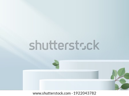 3d background products display podium scene with palm leaf summer platform. product background vector 3d render with podium. stand to show cosmetic products. Stage table on pedestal display blue dais
