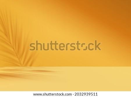 3d background products display podium scene with yellow leaf geometric platform. background vector 3d render with podium. stand to show cosmetic product. Stage showcase on pedestal display yellow