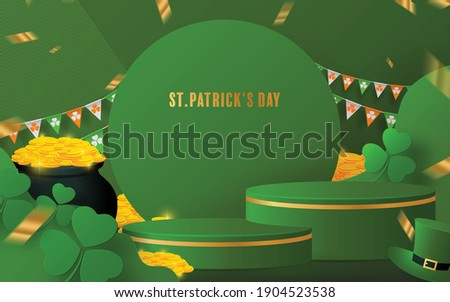 3d Background products for St.Patrick's Day podium Green hat, a pot of gold coins, shamrock, horseshoe, Irish flag.vector cylinder product  with paper cut art and craft style on paper color. Foto stock ©