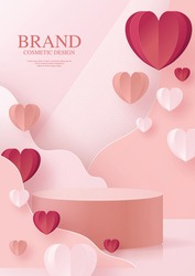 3d Background products for valentine's day podium in love platform. heart background vector 3d with cylinder. podium stand to show cosmetic product with craft style on background.