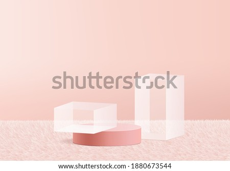 3d background products glass podium on pink wool carpet geometric platform. background vector 3d rendering with podium. stand to show cosmetic products. Stage showcase on pedestal pink pastel studio