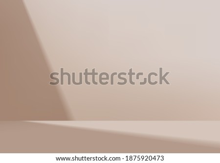 3d background products minimal podium scene with geometric platform. background vector 3d rendering with podium. stand to show cosmetic products. Stage showcase on pedestal modern studio brown pastel