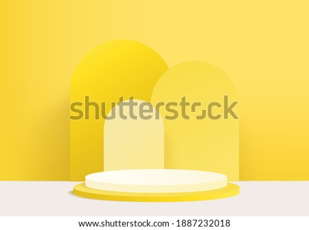 3d background products minimal podium scene with geometric platform. background vector 3d rendering with podium. stand to show cosmetic products. Stage showcase on pedestal modern studio yellow pastel