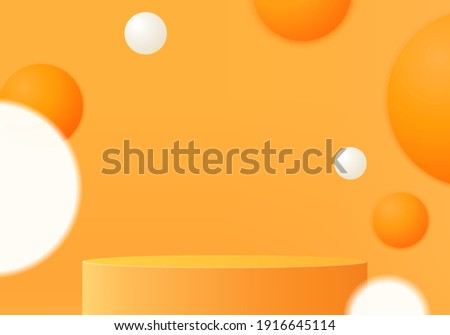 3d background products minimal podium scene with geometric platform. background vector 3d rendering with podium. stand to show cosmetic products. Stage showcase on pedestal modern studio orange pastel