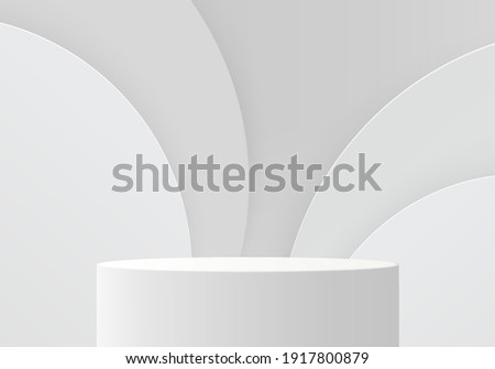 3d background products minimal podium scene with geometric platform. white background vector 3d rendering with podium. stand to show cosmetic products. Stage showcase on pedestal modern grey studio