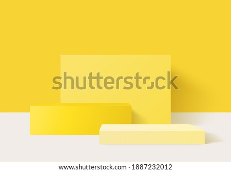 3d background products minimal podium scene with pedestal platform. background vector 3d rendering with yellow podium. stand to cosmetic products. Stage showcase on pedestal 3d studio yellow pastel
