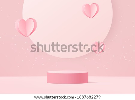 3d background products valentine podium in love platform. heart background vector 3d rendering with cylinder. podium stand to show cosmetic product. Stage romance showcase on pedestal pink love studio