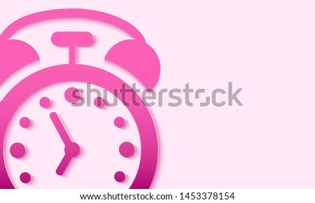 3d background with the image of an alarm clock for the layout. Vector. Papercut Style.