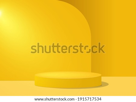 3d background. Yellow geometric shape platform. Pedestal scene with for product, advertising, show, award ceremony isolated on modern backdrop. Stage podium. Minimal style. Vector illustration.