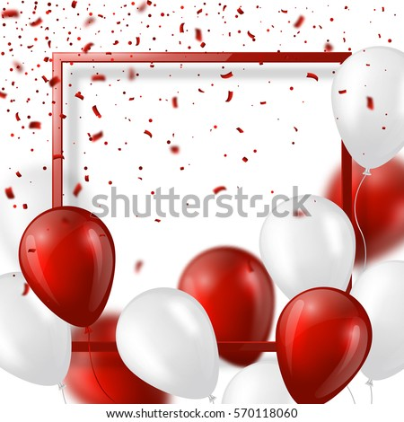 3d balloons with confetti and
