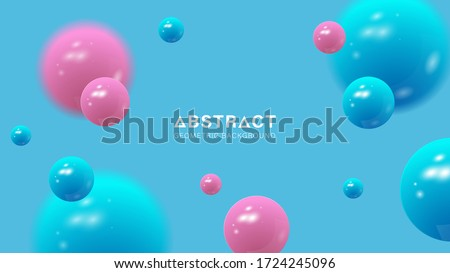 3D balls composition. Sphere with blur effect. Colorful orbs isolated on blue background. Vector EPS 10.
