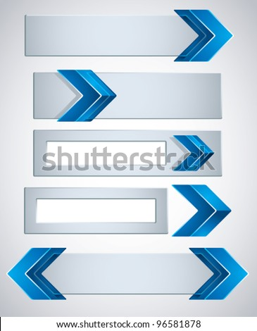 3d banners finished with blue arrows, contain copy spaces for your text . Vector modern style design elements collection.