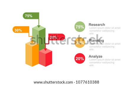 3D Bar chart infographic design template three option, percentage or process for business infographic