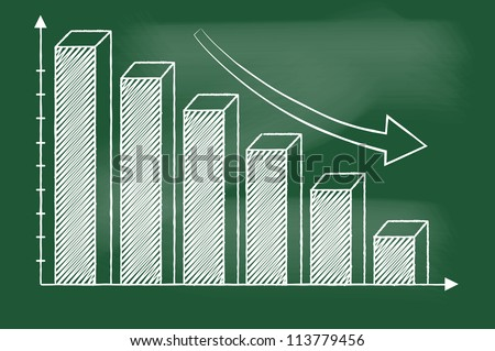 3D Bar chart sketched on blackboard vector - stock vector