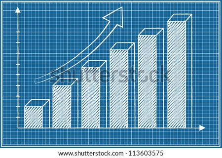 3D Bar chart sketched vector on blueprint