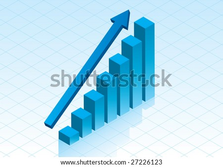 3D Bar graph showing positive growth in glossy blue