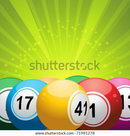 3d bingo balls on a green starburst background