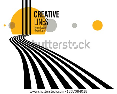 3D black and white lines in perspective with yellow elements abstract vector background, linear perspective illustration op art. Photo stock ©
