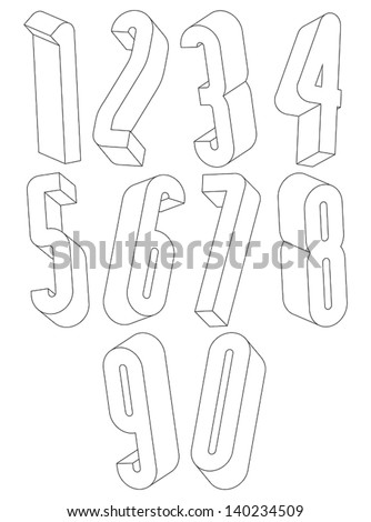 3d black and white tall numbers made with lines, stylish simple shaped numerals for design.