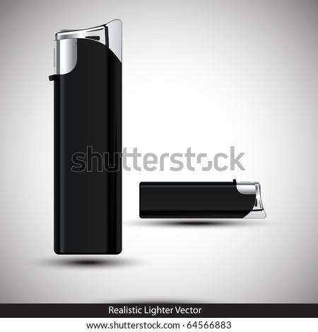 3D Black Lighter Presentation. Vector illustration.