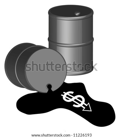 3d - black oil barrel with money running out of spill - vector