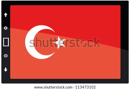 3d Black tabet pc on white background with Turkey flag