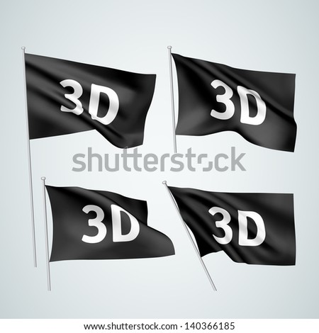 3D - black vector flags. A set of wavy flags created using gradient meshes. EPS 8 vector