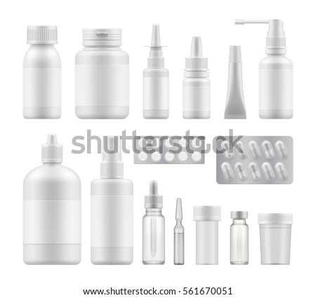 3d blank pharmaceutical medical packaging: container for supplement, spray bottle for drugs. Mock-up of clean pack for medicament. Vector illustration set for package design with blank label.