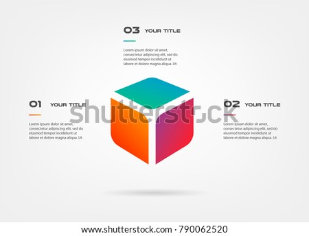 3d blocks infographics step by step. Element of chart, graph, diagram with 3 options - parts, processes, timeline. Vector business template for presentation, workflow layout, annual report, web design