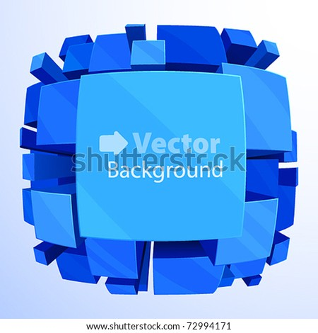 3d blue abstract background with fisheye effect â?? vector illustration