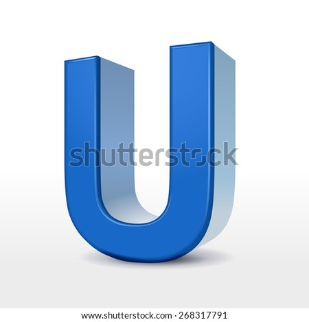 3d blue alphabet u isolated on