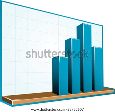 3D blue bar chart graph