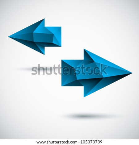 3d blue (cyan) arrows set with shadow and light background
