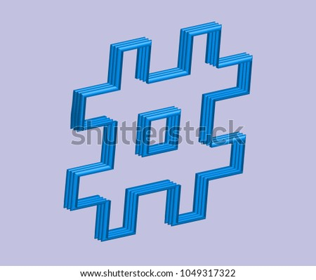 3D blue hashtag in vector graphics