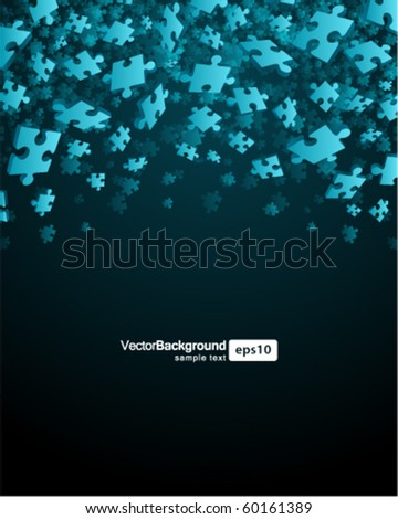 3d blue puzzle piece vector background