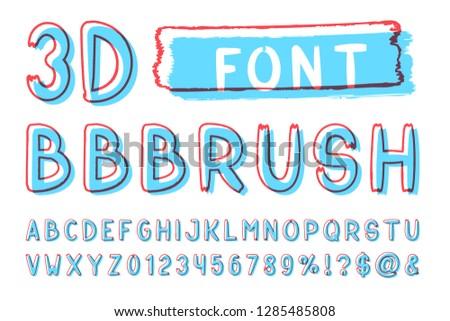 3d Bold brush sans serif font. Vector hand drawn artistic alphabet. Retro Typography. Vector Illustration.