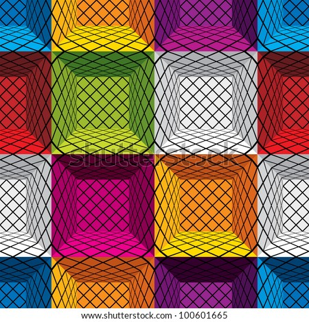 3d boxes seamless pattern, vector background.