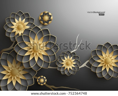 3D branches of black and golden arabesque style blossoms on dark background