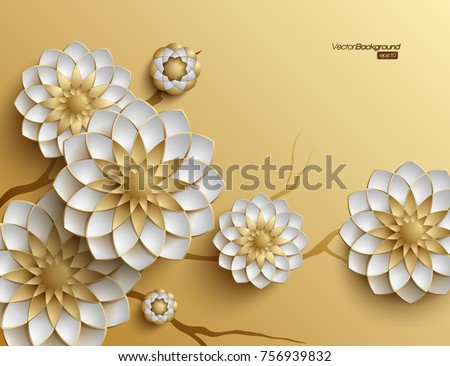 3D branches of golden arabesque style blossoms on golden background - Shutterstock ID 756939832