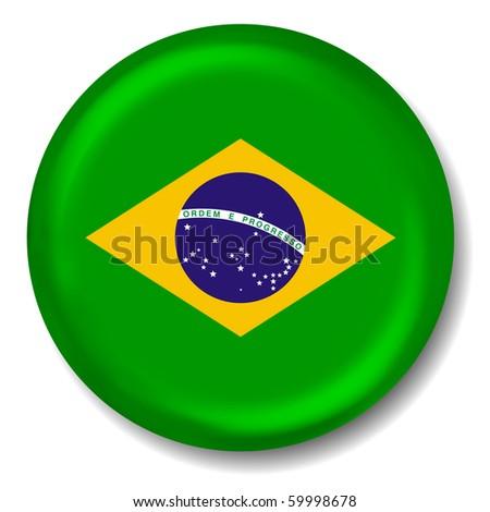 3D Brazil Flag Button